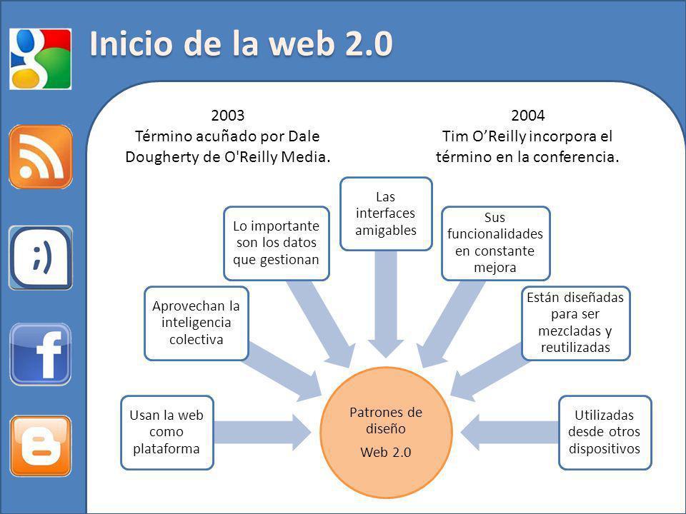 2004 Tim OReilly incorpora el término en la conferencia. 2003 Término acuñado por Dale Dougherty de O'Reilly Media. Patrones de diseño Web 2.0 Usan la