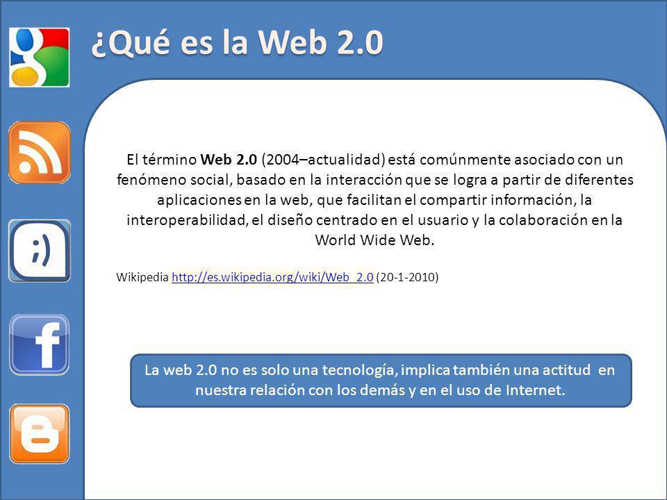 El término Web 2.0 (2004–actualidad) está comúnmente asociado con un fenómeno social, basado en la interacción que se logra a partir de diferentes aplicaciones en la web, que facilitan el compartir información, la interoperabilidad, el diseño centrado en el usuario y la colaboración en la World Wide Web.