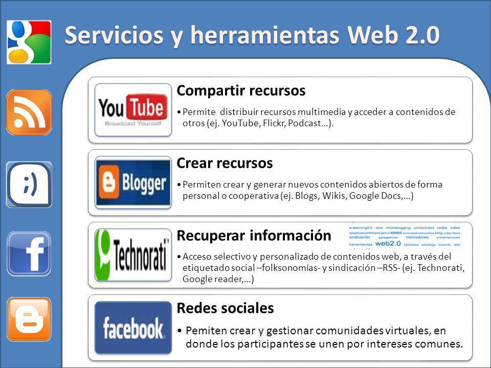 Servicios y herramientas Web 2.0 Compartir recursos Permite distribuir recursos multimedia y acceder a contenidos de otros (ej. YouTube, Flickr, Podca