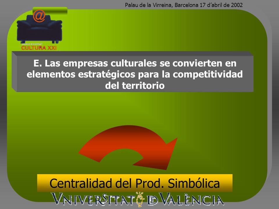 Palau de la Virreina, Barcelona 17 dabril de 2002 E. Las empresas culturales se convierten en elementos estratégicos para la competitividad del territ