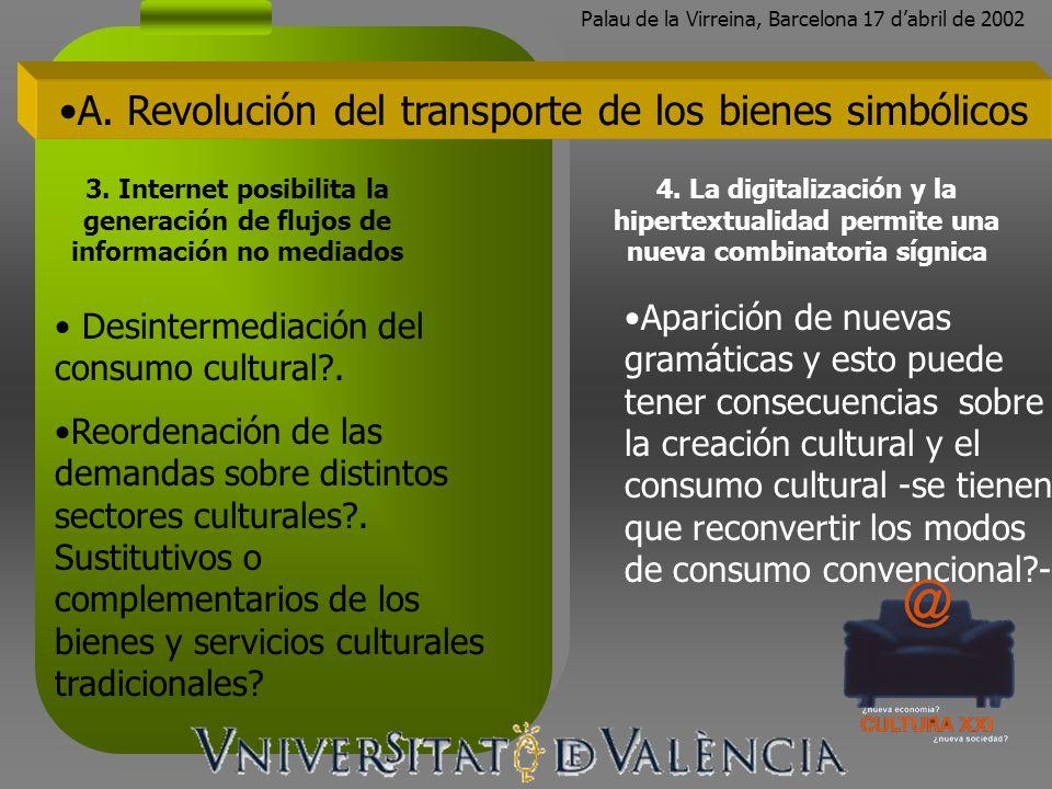 Palau de la Virreina, Barcelona 17 dabril de 2002 Desintermediación del consumo cultural?. Reordenación de las demandas sobre distintos sectores cultu