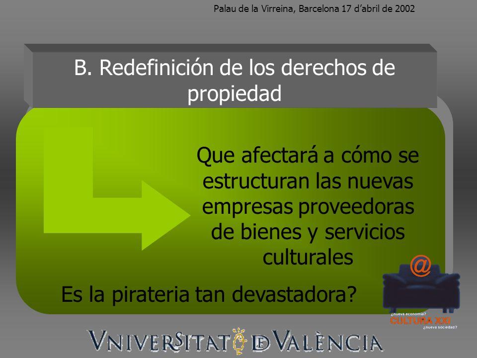 Palau de la Virreina, Barcelona 17 dabril de 2002 B. Redefinición de los derechos de propiedad Que afectará a cómo se estructuran las nuevas empresas