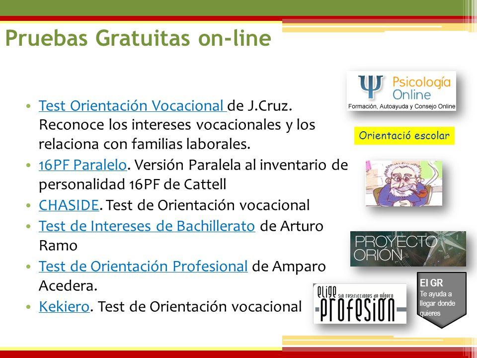 07/06/2014 Test Orientación Vocacional de J.Cruz. Reconoce los intereses vocacionales y los relaciona con familias laborales. Test Orientación Vocacio