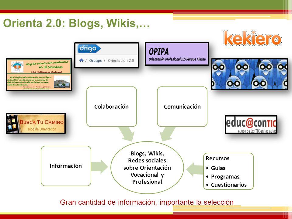 07/06/2014 Blogs, Wikis, Redes sociales sobre Orientación Vocacional y Profesional Información Recursos Guías Programas Cuestionarios ComunicaciónCola
