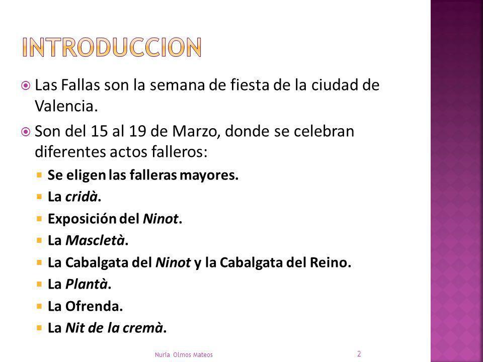 Las Fallas son la semana de fiesta de la ciudad de Valencia. Son del 15 al 19 de Marzo, donde se celebran diferentes actos falleros: Se eligen las fal