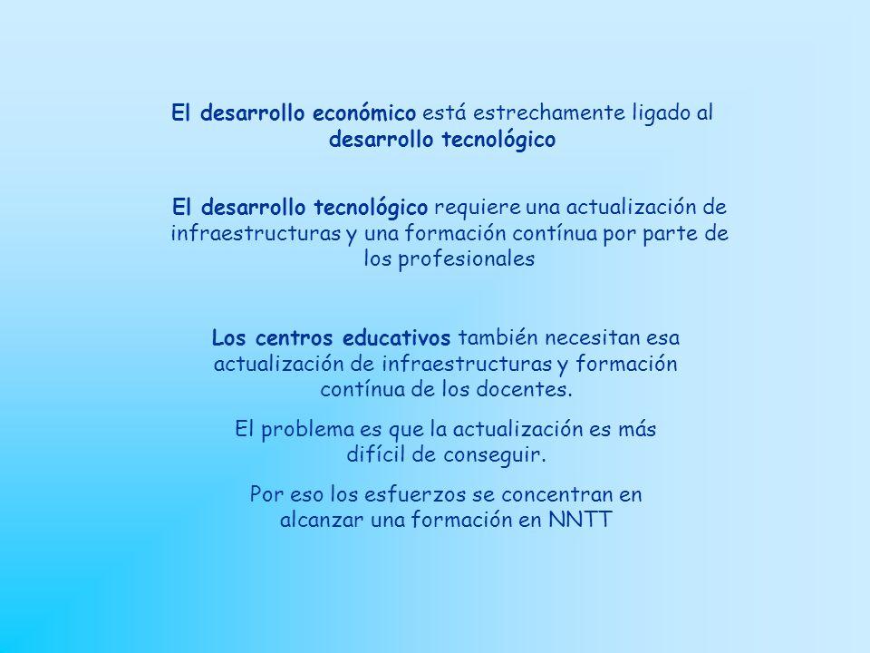 El desarrollo económico está estrechamente ligado al desarrollo tecnológico El desarrollo tecnológico requiere una actualización de infraestructuras y una formación contínua por parte de los profesionales Los centros educativos también necesitan esa actualización de infraestructuras y formación contínua de los docentes.