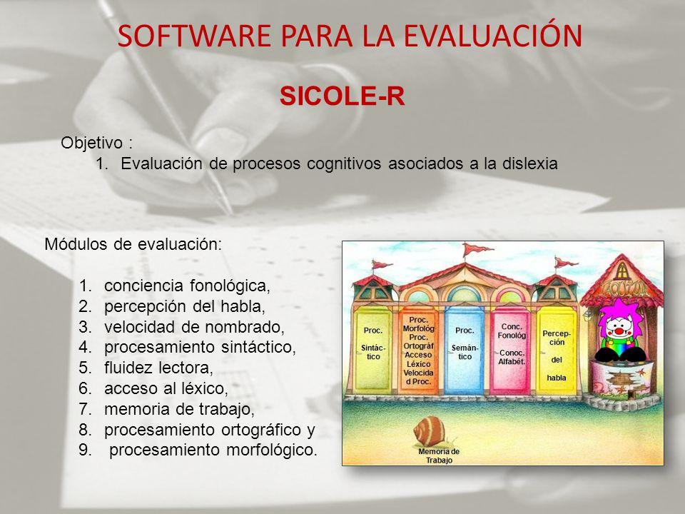 SOFTWARE PARA LA EVALUACIÓN SICOLE-R Objetivo : 1.Evaluación de procesos cognitivos asociados a la dislexia Módulos de evaluación: 1.conciencia fonoló