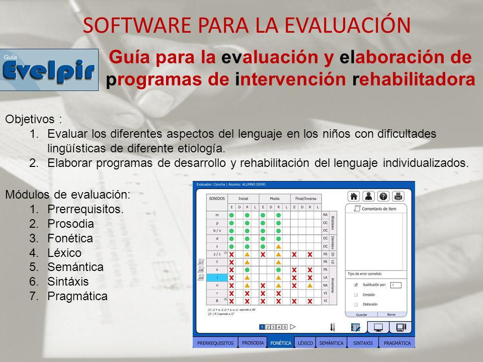 SOFTWARE PARA LA EVALUACIÓN Guía para la evaluación y elaboración de programas de intervención rehabilitadora Objetivos : 1.Evaluar los diferentes asp