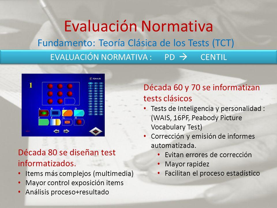 Evaluación Normativa Década 60 y 70 se informatizan tests clásicos Tests de Inteligencia y personalidad : (WAIS, 16PF, Peabody Picture Vocabulary Test