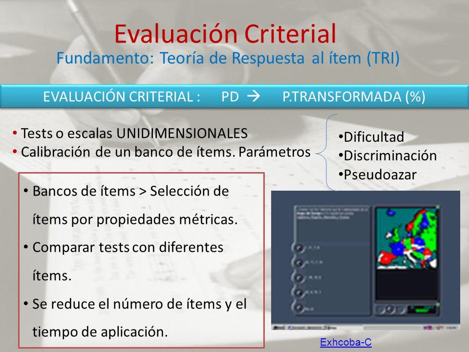 Evaluación Criterial Tests o escalas UNIDIMENSIONALES Calibración de un banco de ítems. Parámetros Fundamento: Teoría de Respuesta al ítem (TRI) Dific