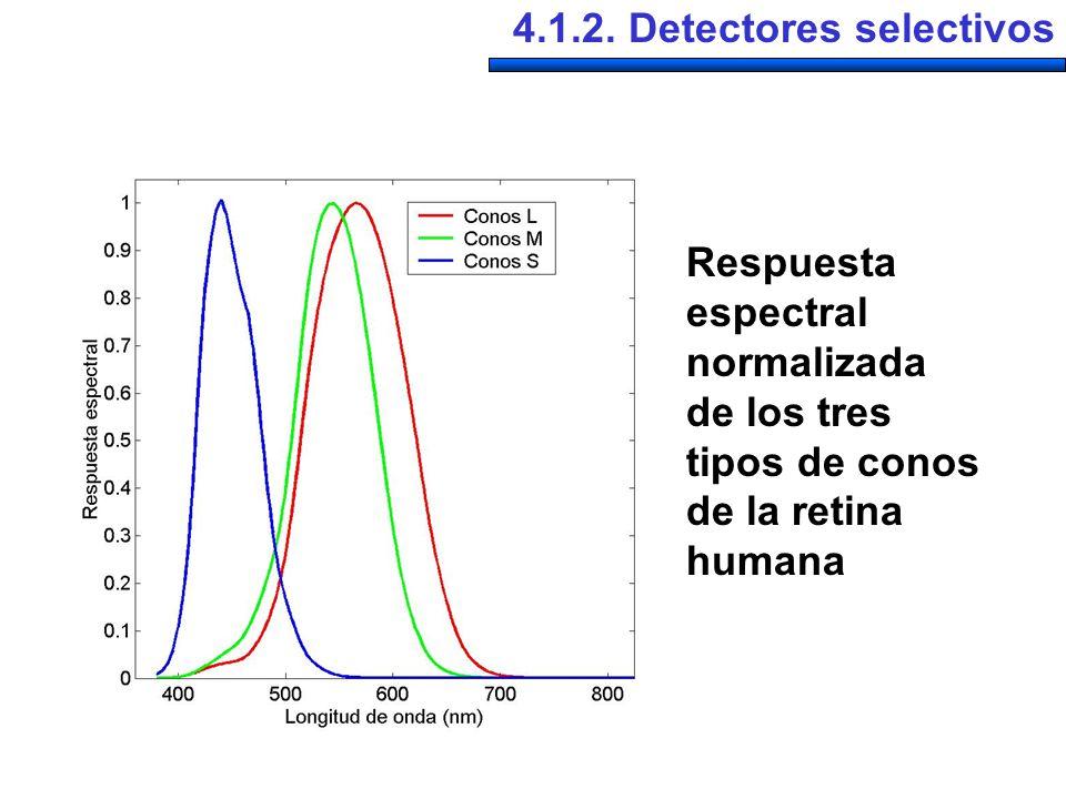 4.1.2. Detectores selectivos Respuesta espectral normalizada de los tres tipos de conos de la retina humana