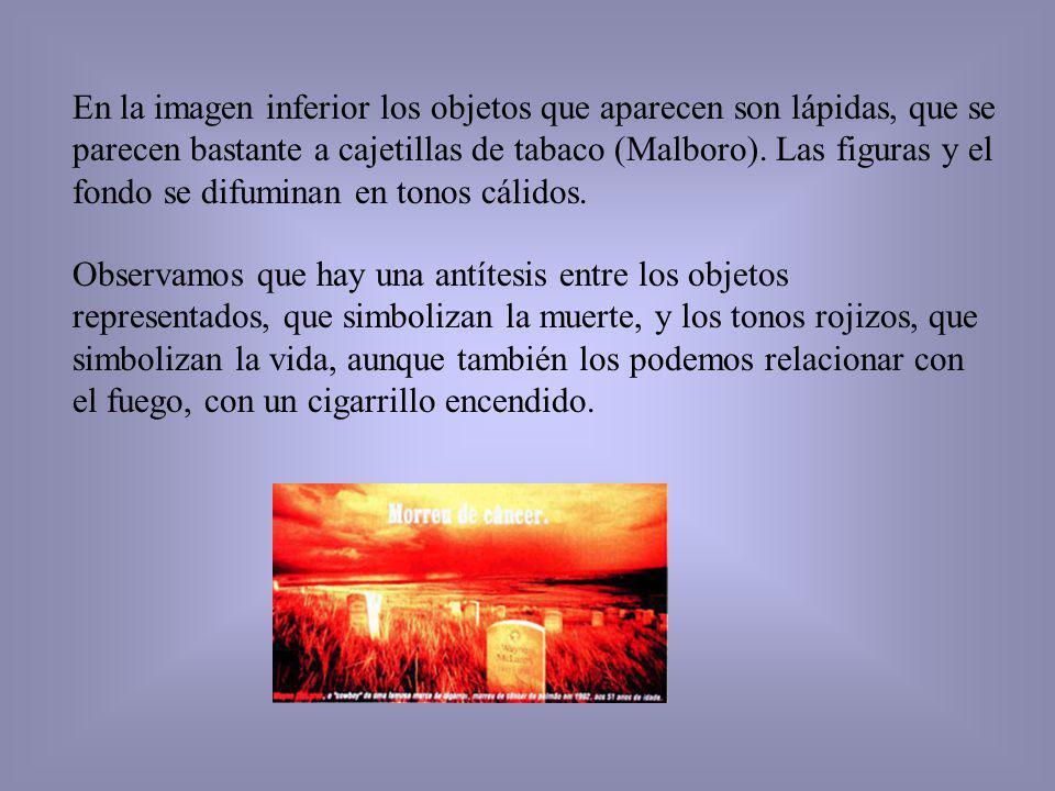 En la imagen inferior los objetos que aparecen son lápidas, que se parecen bastante a cajetillas de tabaco (Malboro). Las figuras y el fondo se difumi