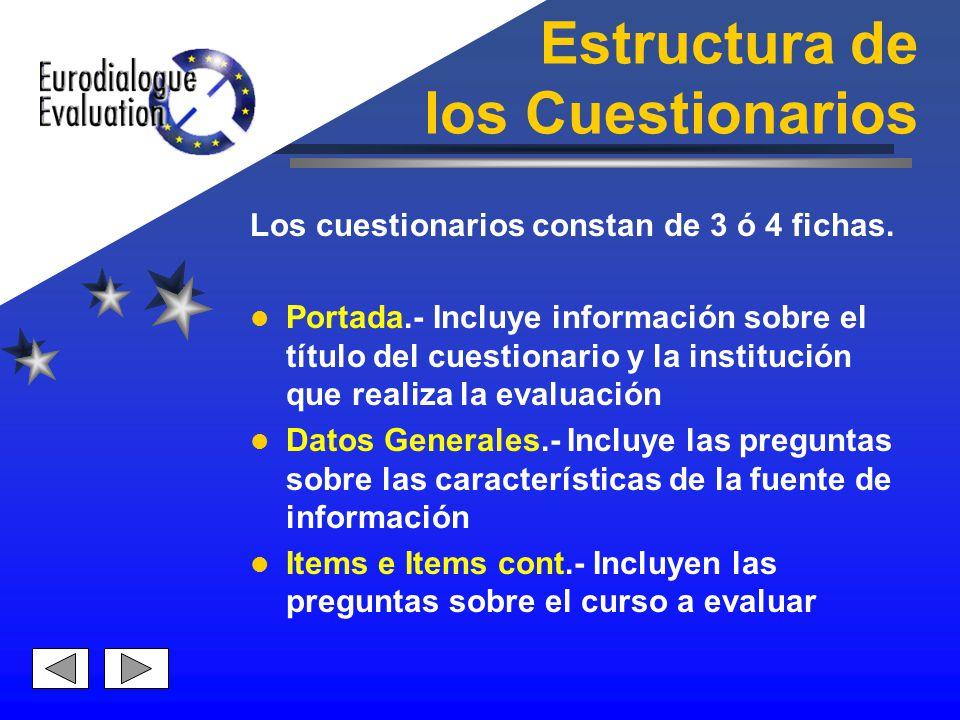 Estructura de los Cuestionarios Los cuestionarios constan de 3 ó 4 fichas. Portada.- Incluye información sobre el título del cuestionario y la institu