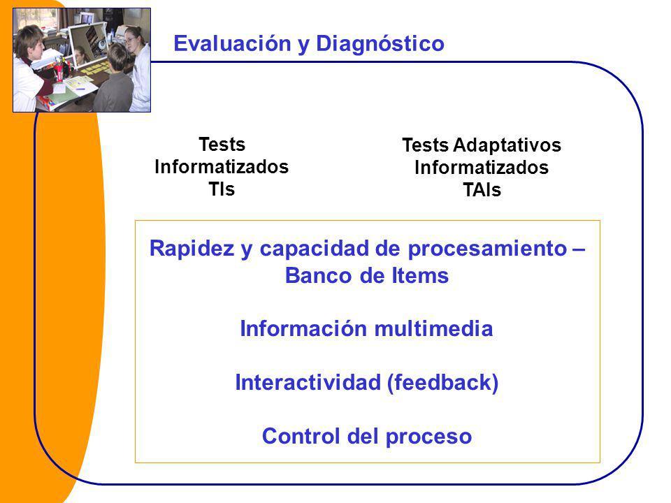 Evaluación y Diagnóstico Tests Informatizados TIs Tests Adaptativos Informatizados TAIs Rapidez y capacidad de procesamiento – Banco de Items Información multimedia Interactividad (feedback) Control del proceso