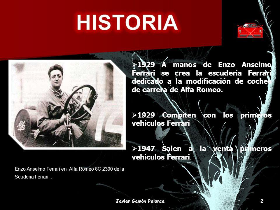 1929 A manos de Enzo Anselmo Ferrari se crea la escudería Ferrari dedicado a la modificación de coches de carrera de Alfa Romeo. 1929 Compiten con los