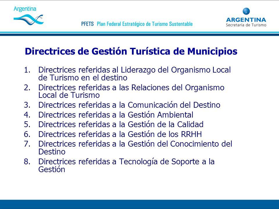 Directrices de Gestión Turística de Municipios 1.Directrices referidas al Liderazgo del Organismo Local de Turismo en el destino 2.Directrices referid