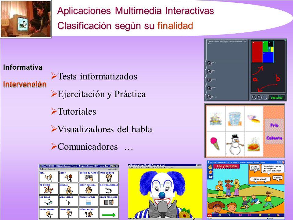 Aplicaciones Multimedia Interactivas Clasificación según su finalidad InformativaIntervención Informativa Hipermedias informativos Enciclopedias o dic