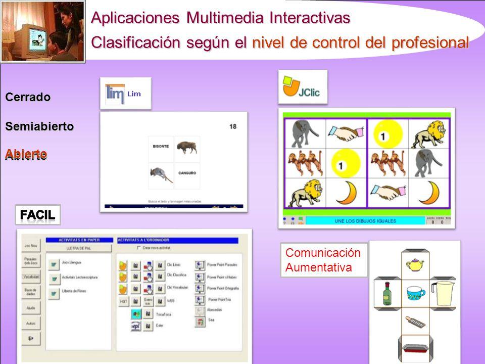 Aplicaciones Multimedia Interactivas Clasificación según el nivel de control del profesional CerradoSemiabiertoAbierto Abierto Comunicación Aumentativa