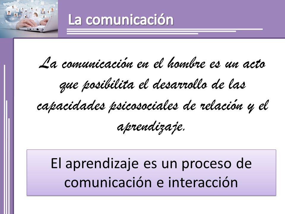 El aprendizaje es un proceso de comunicación e interacción La comunicación en el hombre es un acto que posibilita el desarrollo de las capacidades psicosociales de relación y el aprendizaje.
