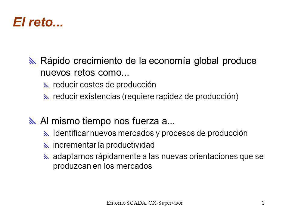Entorno SCADA. CX-Supervisor1 El reto... Rápido crecimiento de la economía global produce nuevos retos como... reducir costes de producción reducir ex