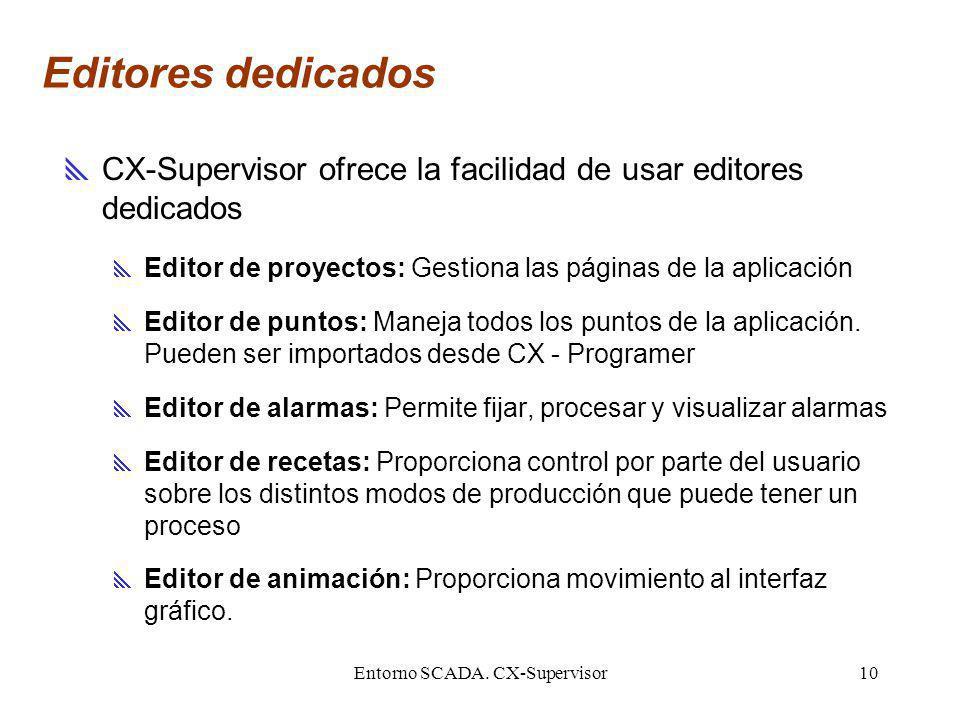 Entorno SCADA. CX-Supervisor10 Editores dedicados CX-Supervisor ofrece la facilidad de usar editores dedicados Editor de proyectos: Gestiona las págin