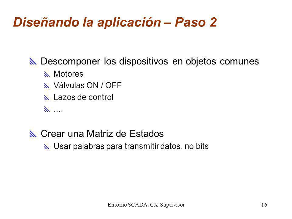 Entorno SCADA. CX-Supervisor16 Diseñando la aplicación – Paso 2 Descomponer los dispositivos en objetos comunes Motores Válvulas ON / OFF Lazos de con