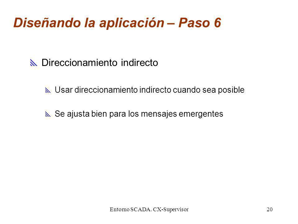 Entorno SCADA. CX-Supervisor20 Diseñando la aplicación – Paso 6 Direccionamiento indirecto Usar direccionamiento indirecto cuando sea posible Se ajust