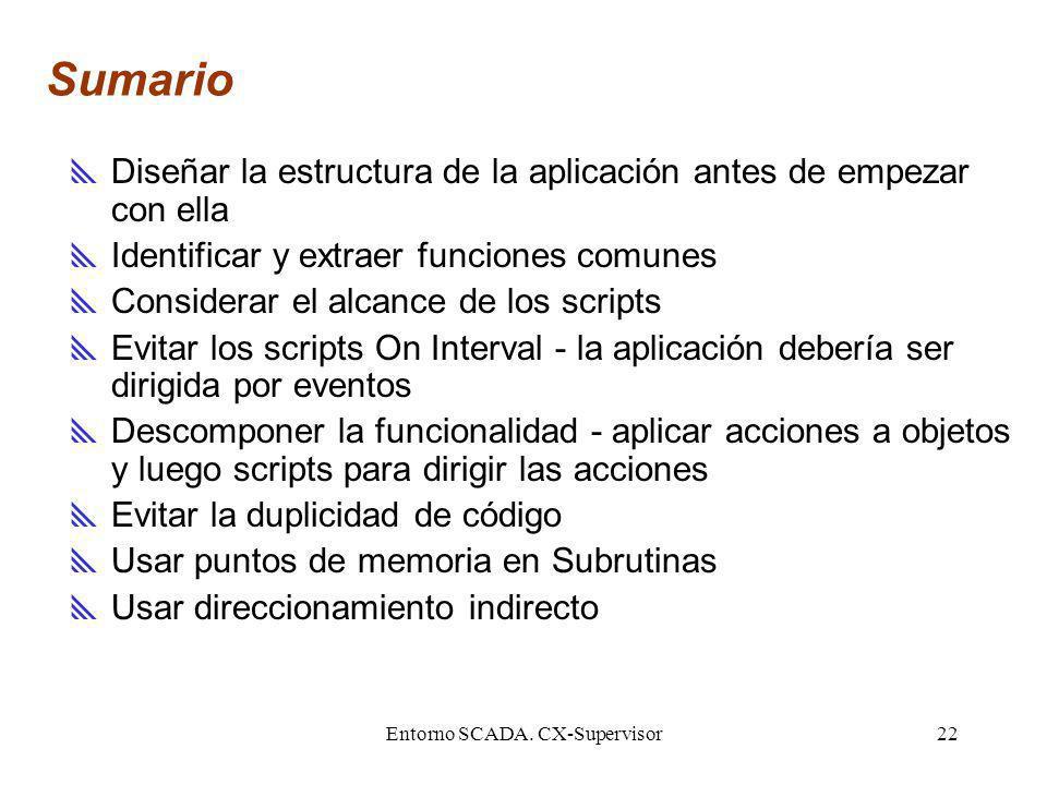 Entorno SCADA. CX-Supervisor22 Sumario Diseñar la estructura de la aplicación antes de empezar con ella Identificar y extraer funciones comunes Consid
