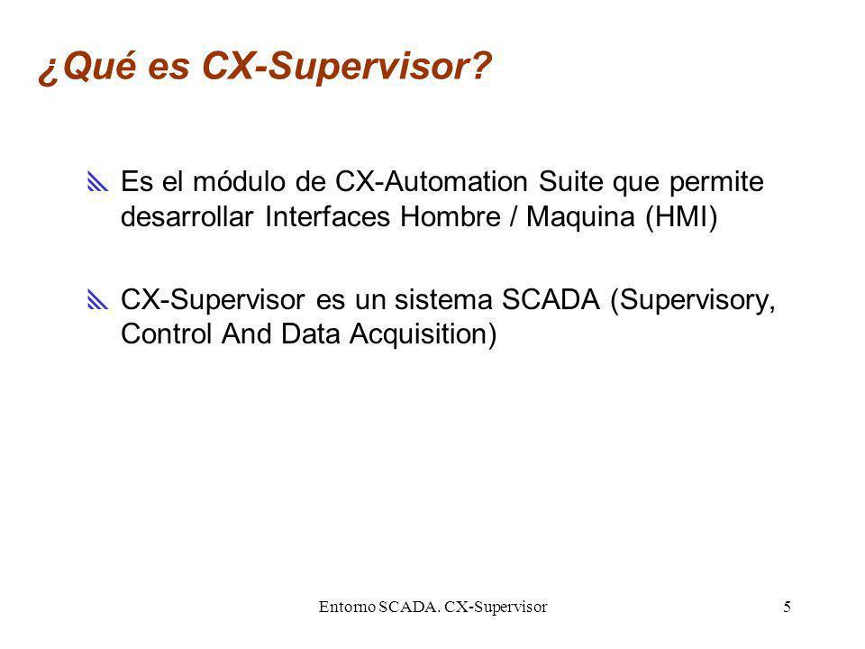 Entorno SCADA. CX-Supervisor5 ¿Qué es CX-Supervisor? Es el módulo de CX-Automation Suite que permite desarrollar Interfaces Hombre / Maquina (HMI) CX-