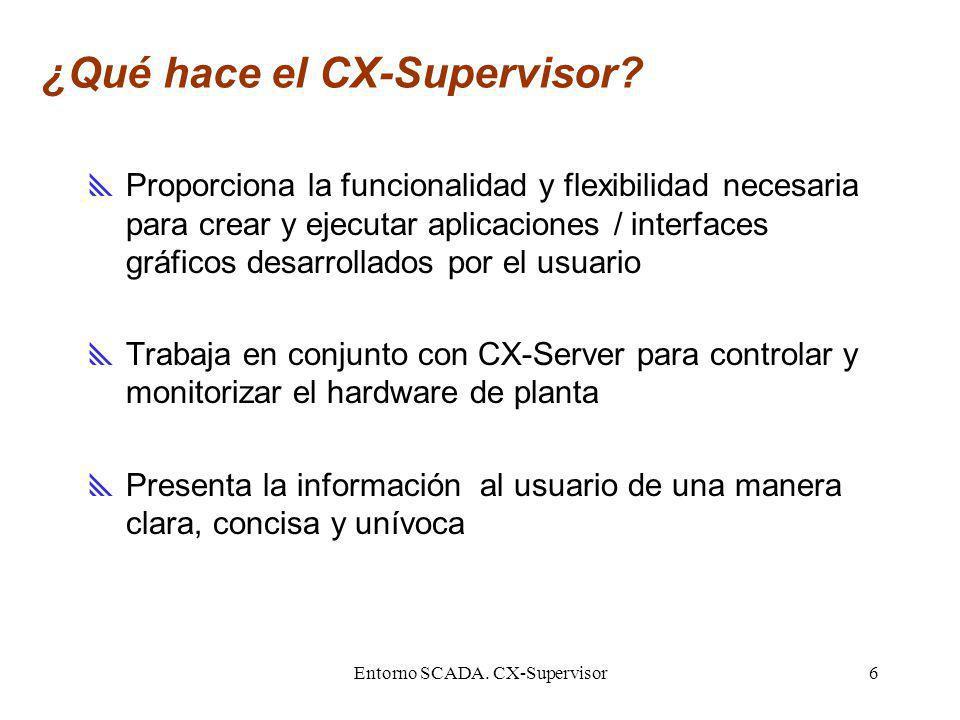 Entorno SCADA. CX-Supervisor6 ¿Qué hace el CX-Supervisor? Proporciona la funcionalidad y flexibilidad necesaria para crear y ejecutar aplicaciones / i
