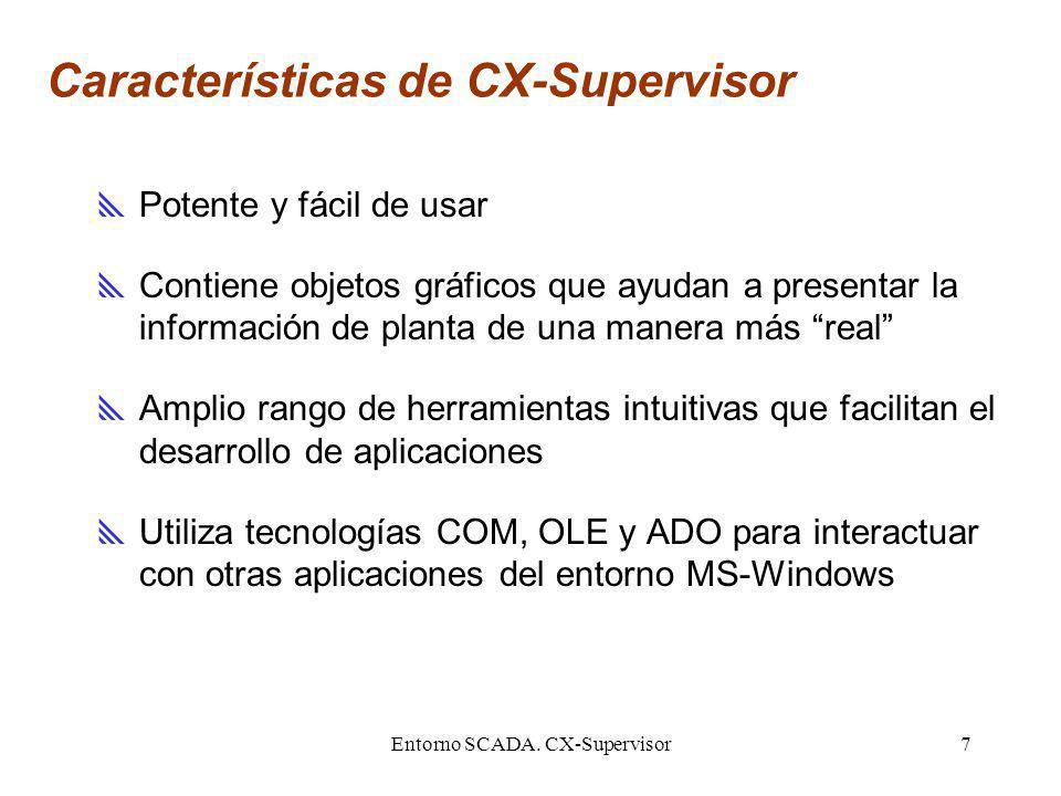 Entorno SCADA. CX-Supervisor7 Características de CX-Supervisor Potente y fácil de usar Contiene objetos gráficos que ayudan a presentar la información