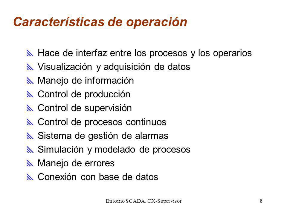 Entorno SCADA. CX-Supervisor8 Características de operación Hace de interfaz entre los procesos y los operarios Visualización y adquisición de datos Ma