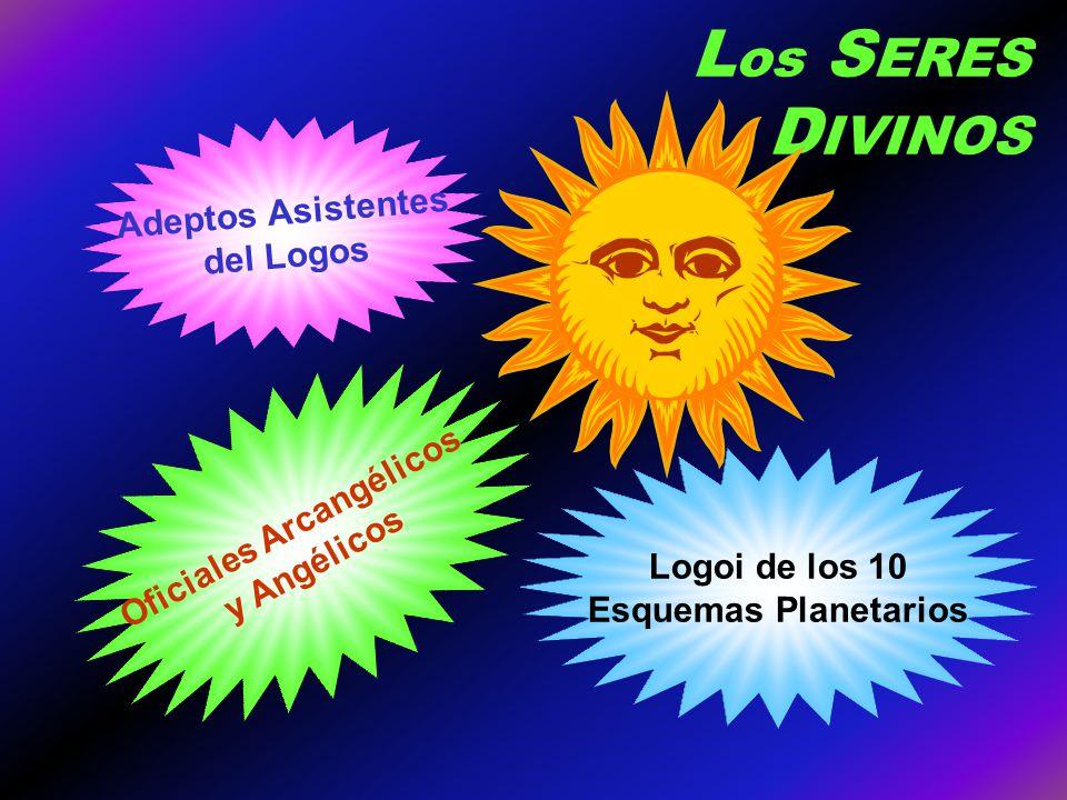L os S ERES D IVINOS Adeptos Asistentes del Logos Oficiales Arcangélicos y Angélicos Logoi de los 10 Esquemas Planetarios