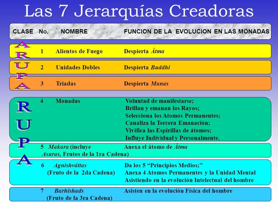 Las 7 Jerarquías Creadoras CLASE No. NOMBRE FUNCION DE LA EVOLUCION EN LAS MONADAS 1 Alientos de Fuego Despierta Âtma 2 Unidades DoblesDespierta Buddh