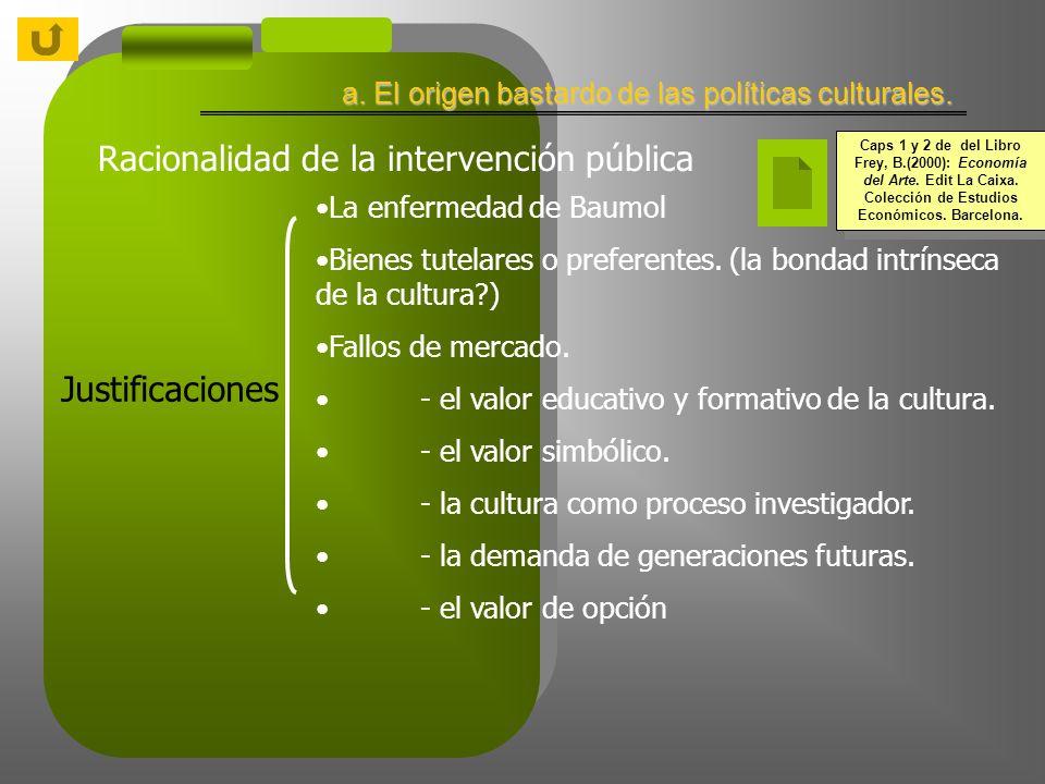 Racionalidad de la intervención pública La enfermedad de Baumol Bienes tutelares o preferentes.