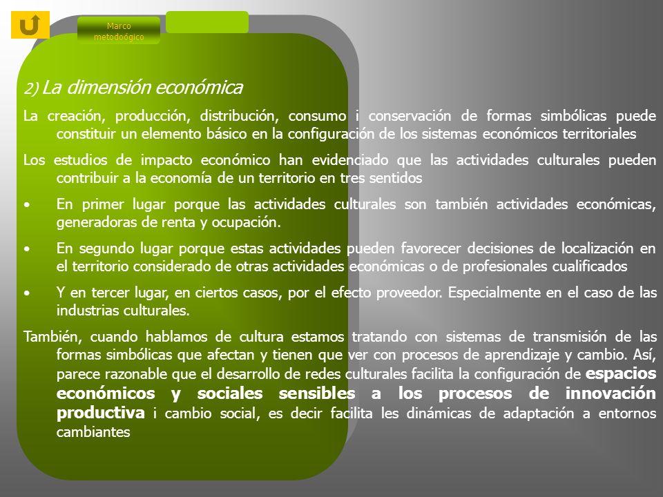 2) La dimensión económica Marco metodoógico