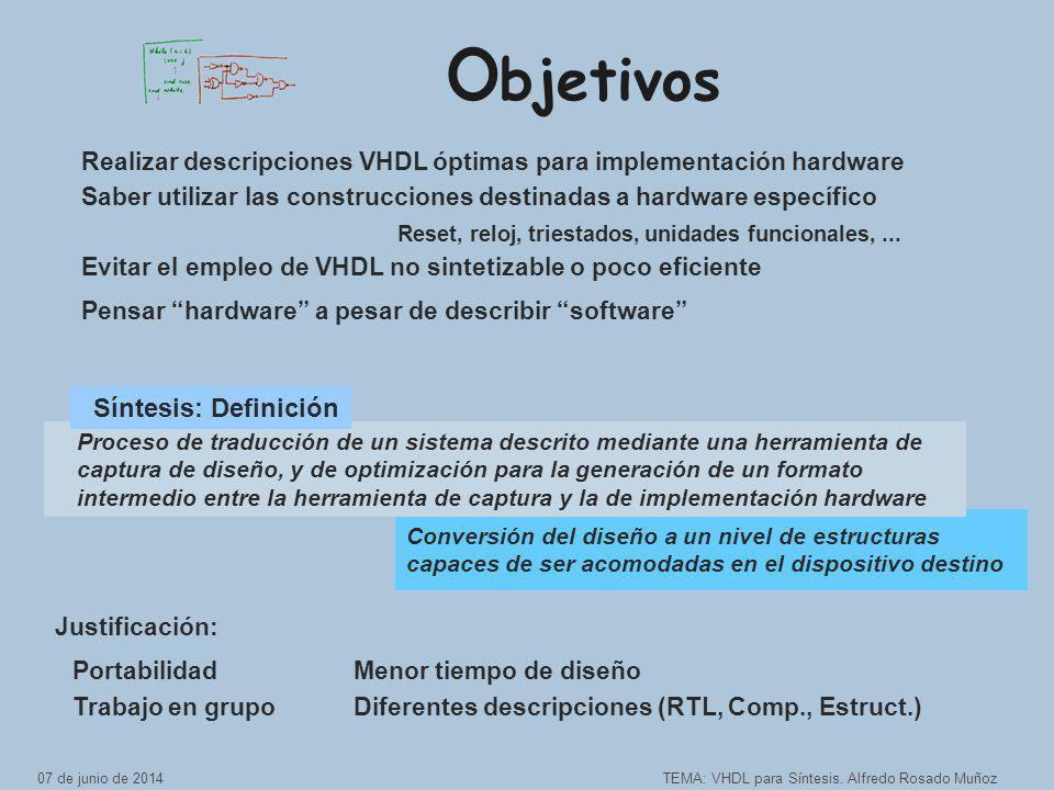 Conversión del diseño a un nivel de estructuras capaces de ser acomodadas en el dispositivo destino O bjetivos TEMA: VHDL para Síntesis.
