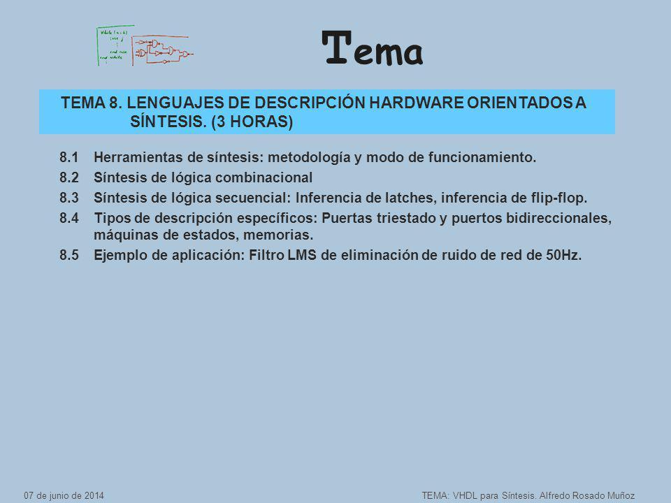 T ema TEMA: VHDL para Síntesis.Alfredo Rosado Muñoz TEMA 8.