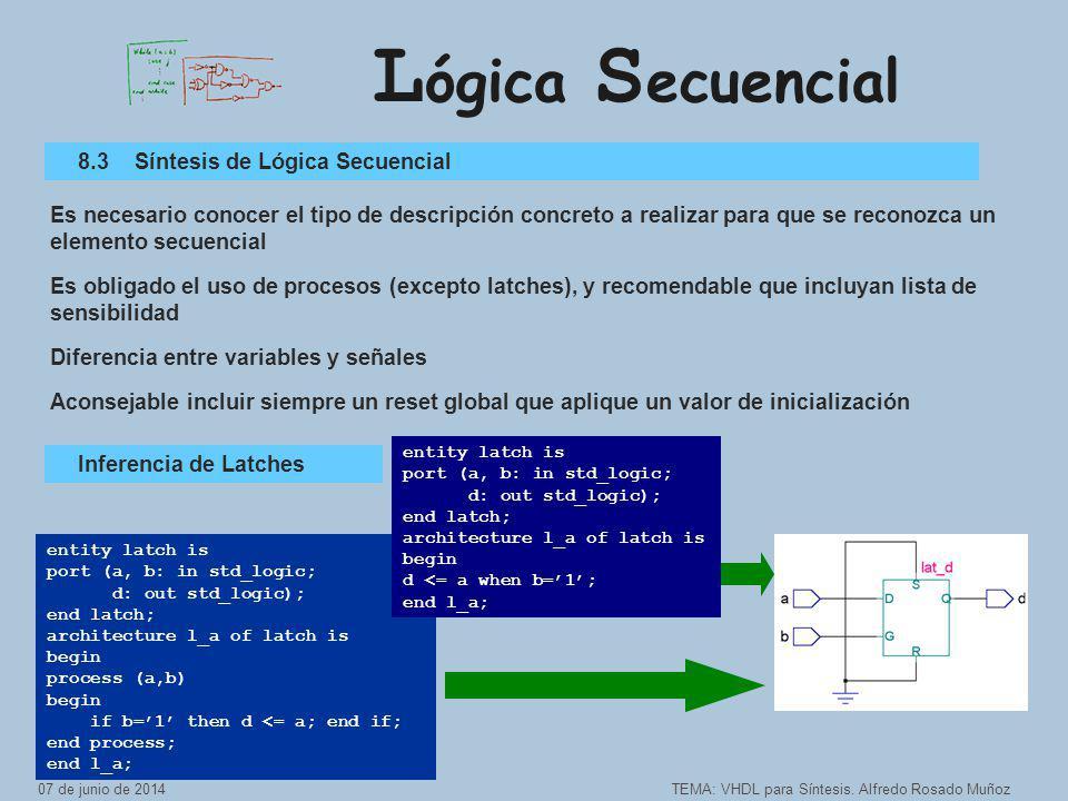 L ógica S ecuencial TEMA: VHDL para Síntesis.