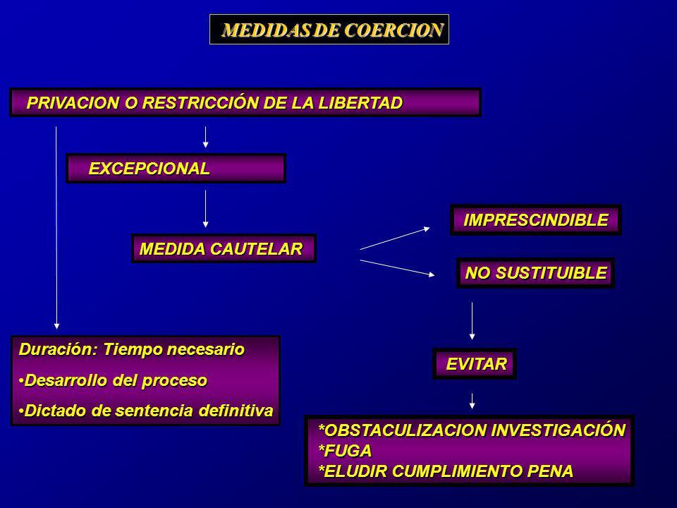 CARACTERISTICAS: INSTRUMENTALES ASEGURATIVAS PROVISIONALES EXCEPCIONALES LIMITADAS PROPORCIONALES NECESARIAS JUDICIALES MOTIVADAS MEDIDAS DE COERCION MEDIDAS DE COERCION