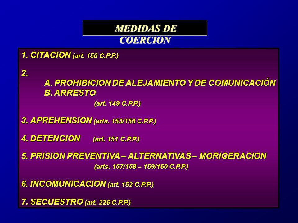 1.CITACION (art. 150 C.P.P.) 1. CITACION (art. 150 C.P.P.)2. A. PROHIBICION DE ALEJAMIENTO Y DE COMUNICACIÓN B. ARRESTO B. ARRESTO (art. 149 C.P.P.) (