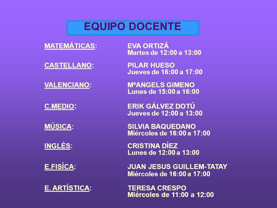 EQUIPO DOCENTE MATEMÁTICAS:EVA ORTIZÁ Martes de 12:00 a 13:00 CASTELLANO:PILAR HUESO Jueves de 16:00 a 17:00 VALENCIANO:MªANGELS GIMENO Lunes de 15:00