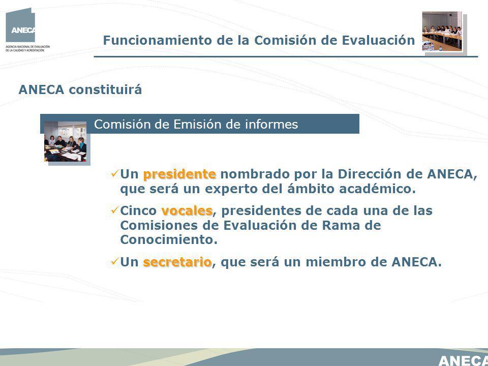Funcionamiento de la Comisión de Evaluación ANECA constituirá Comisión de Emisión de informes presidente Un presidente nombrado por la Dirección de ANECA, que será un experto del ámbito académico.