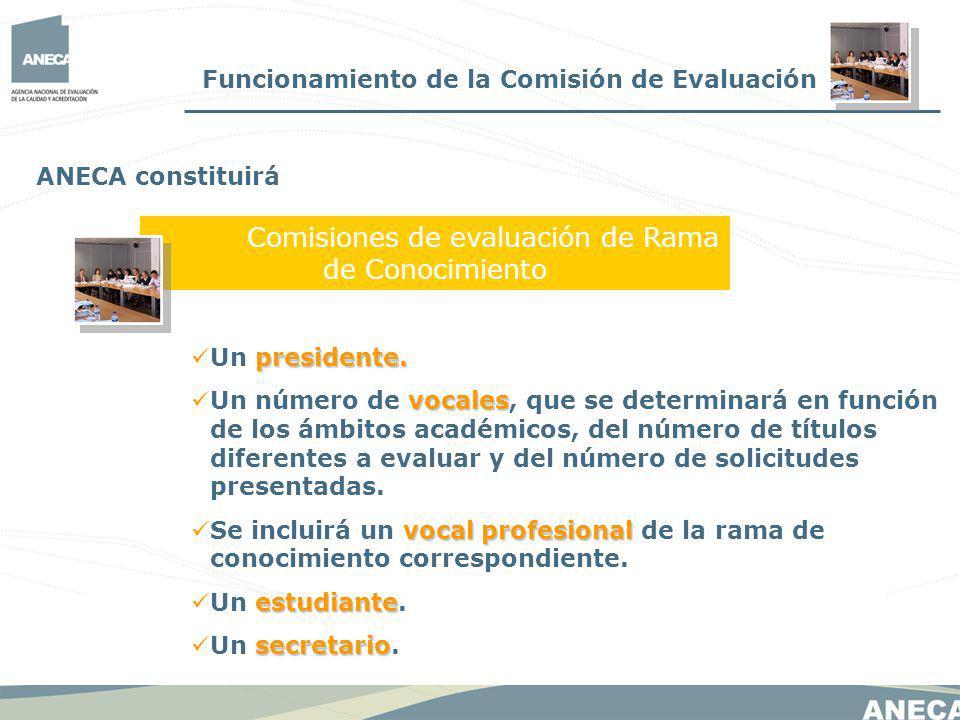 Funcionamiento de la Comisión de Evaluación Comisiones de evaluación de Rama de Conocimiento ANECA constituirá presidente.