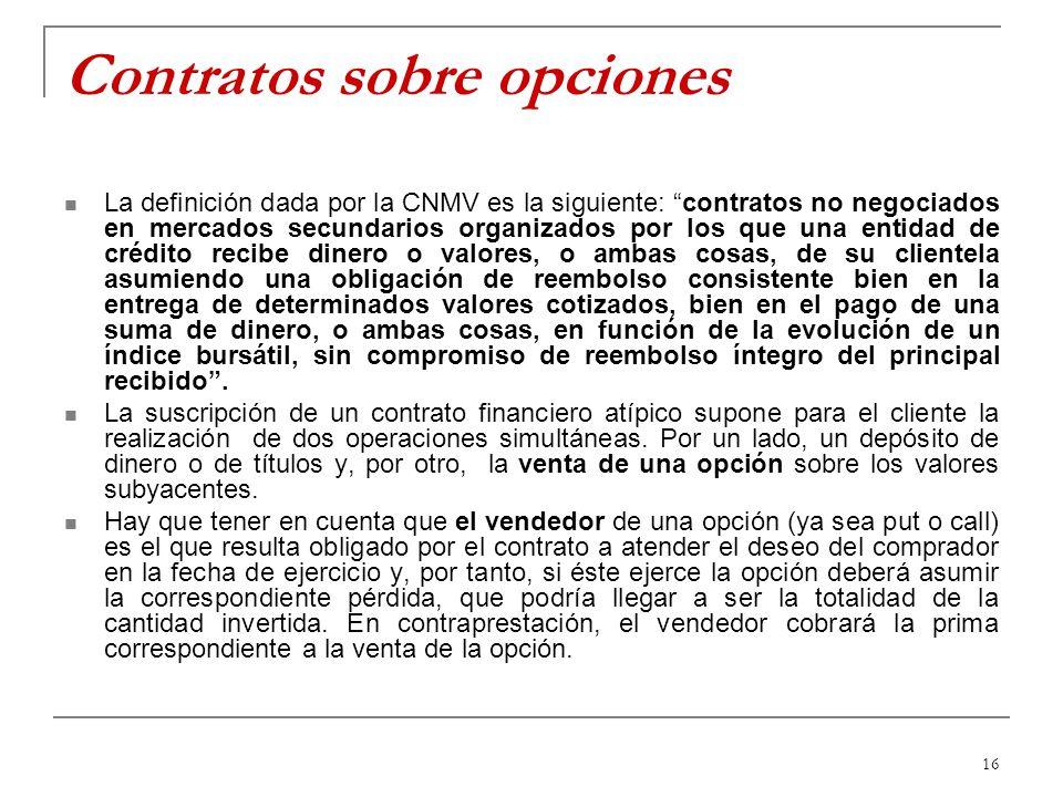 16 Contratos sobre opciones La definición dada por la CNMV es la siguiente: contratos no negociados en mercados secundarios organizados por los que un