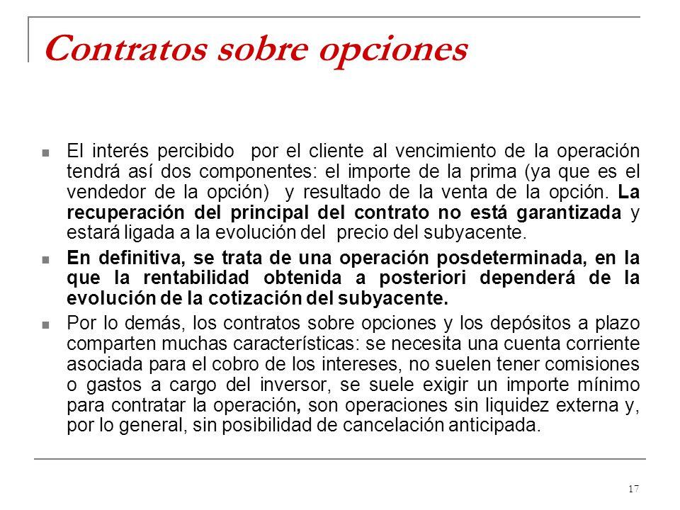 17 Contratos sobre opciones El interés percibido por el cliente al vencimiento de la operación tendrá así dos componentes: el importe de la prima (ya