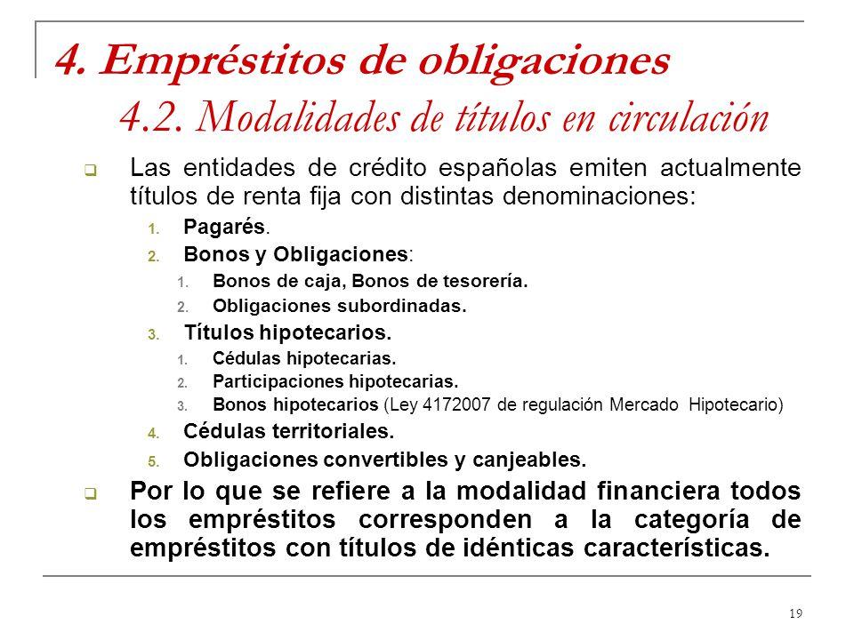 19 4. Empréstitos de obligaciones 4.2. Modalidades de títulos en circulación Las entidades de crédito españolas emiten actualmente títulos de renta fi