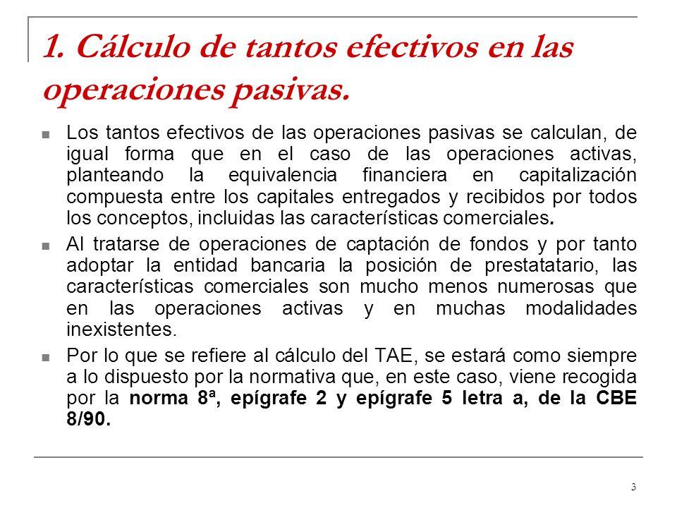 3 1. Cálculo de tantos efectivos en las operaciones pasivas. Los tantos efectivos de las operaciones pasivas se calculan, de igual forma que en el cas