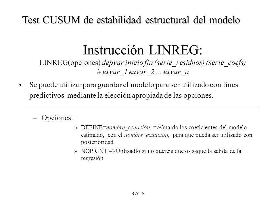 Instrucción LINREG: LINREG(opciones) depvar inicio fin (serie_residuos) (serie_coefs) # exvar_1 exvar_2...