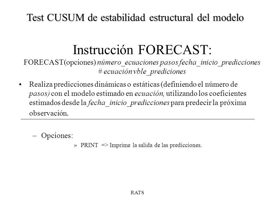 Instrucción FORECAST: FORECAST(opciones) número_ecuaciones pasos fecha_inicio_predicciones # ecuación vble_prediciones Realiza predicciones dinámicas o estáticas (definiendo el número de pasos) con el modelo estimado en ecuación, utilizando los coeficientes estimados desde la fecha_inicio_predicciones para predecir la próxima observación.